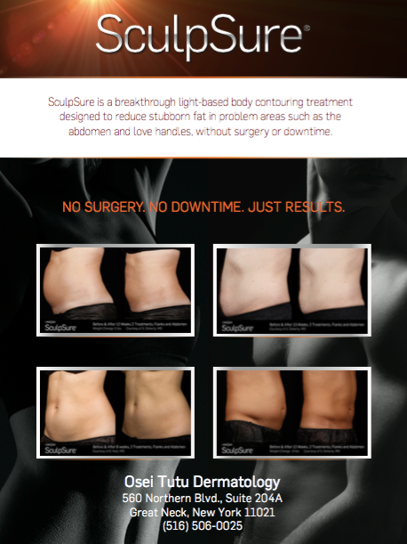 We are excited to offer SculpSure!!  Get Bikini Ready!!  Target trouble areas and reduce up to 24% of stubborn fat in just  25 minutes  with 2 treatments and 12 weeks for maximum results.   Promotion:  25% off  Sculpture*   * Promotion is valid for one area    * Promotion valid for purchase o  f 2 treatments per area    * Promotion valid with full payment or deposit made by June 15, 2017    * Redeem by September 1, 2017    * Purchase 2 sessions of SculpSure for one area during our promotion and be eligible for promotion pricing (25% off for 2 treatments) for additional areas until September 1, 2017     * Purchase 2 treatments of SculpSure for one area during our promotion and be eligible for 40% off third treatment for more customized therapy    * Purchase 2 treatments of SculpSure for one area and take 25% off any elective cosmetic procedure offered in our office (excludes hair restoration procedures, one treatment only, deposit must be made by March 15, redeem by September 1, 2017)    * Purchase 2 treatments of SculpSure for one area and take $500 off hair transplant (deposit must be made by June 15th, redeemed by September 1, 2017)     **Regular Price $1500 per area per session**    CONTACT US TODAY FOR A FREE CONSULTATION
