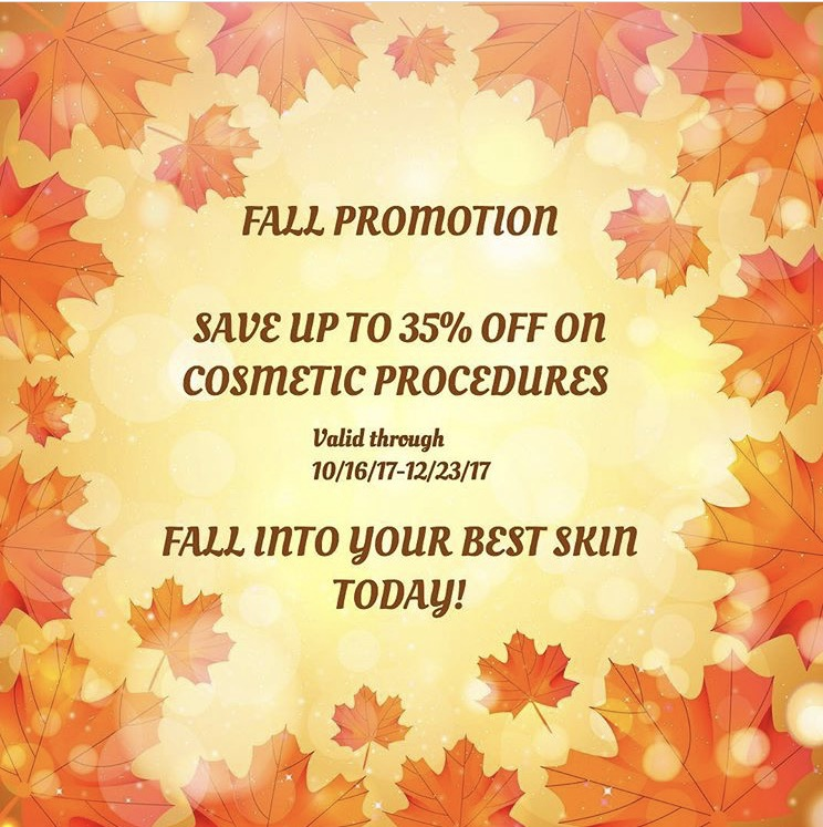 20% off Laser Hair Removal packages of 6, Botox, Chemical Peel packages of 4, Dermapen single procedure or packages, Filler and Mole Removal  $500 off Hair Transplants  $250 off PRP  $250 off Scalp MicroPigmentation   *Deposit required to secure promotion price 10/16/17-12/23/17
