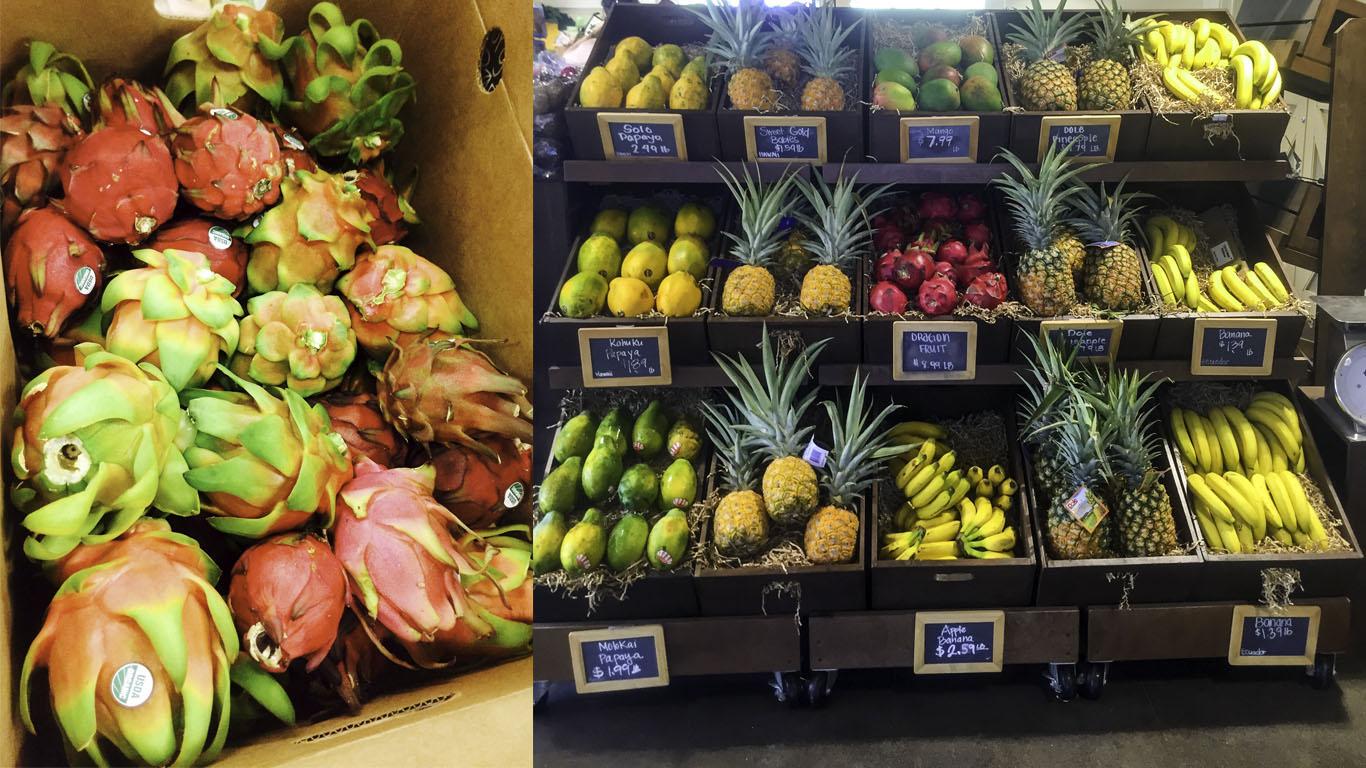 Dragon fruit at Whole Foods on Maui, Hale'iwa Fruit Stand.