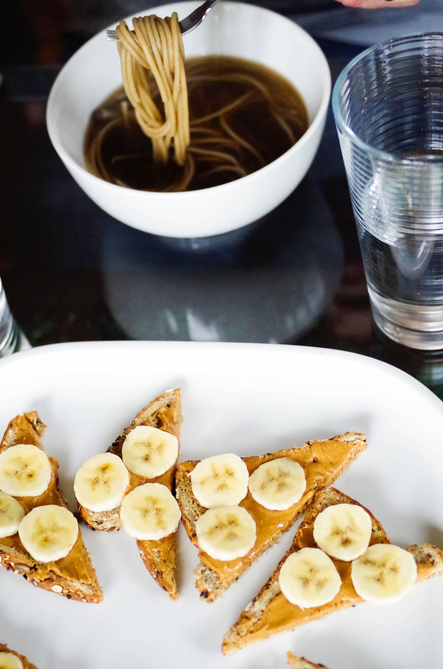 ramen and peanut butter banana toast