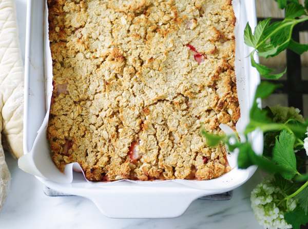 Strawberry Rhubarb Crisp Recipe -Refined Sugar Free, Gluten-Free, Vegan