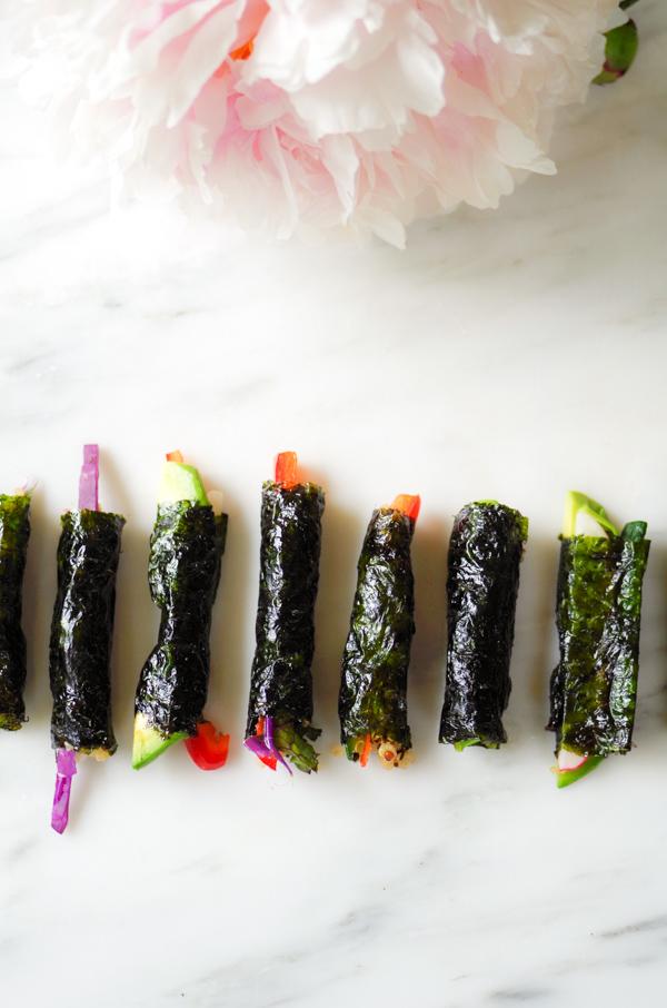 Colorful mini veggie sushi rolls.