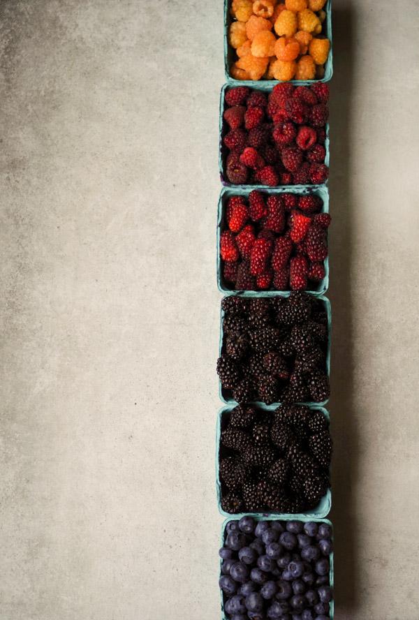 Beautiful berries from Hayton Farms: golden raspberries, logan berries, tay berries, blackberries, marionberries, blueberries.