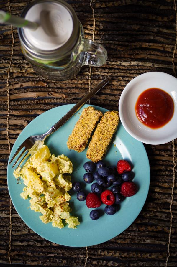 Vegan potato salad, berries, and almond-crusted tempeh fingers = perfect picnic food!