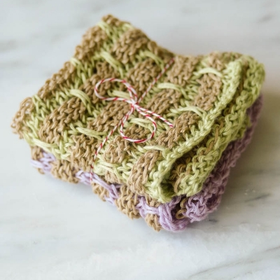 NEW Linen Dishcloths in Flower Garden, sets of 2