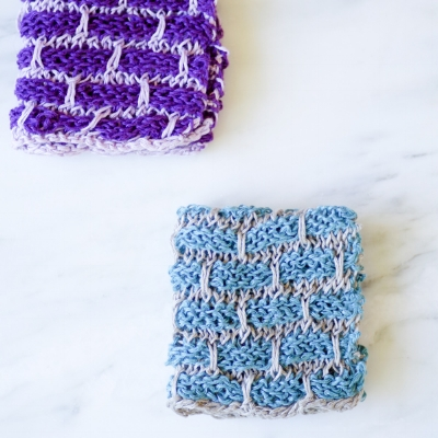 Linen Dishcloths in Shades of Blueberry, sets of 2