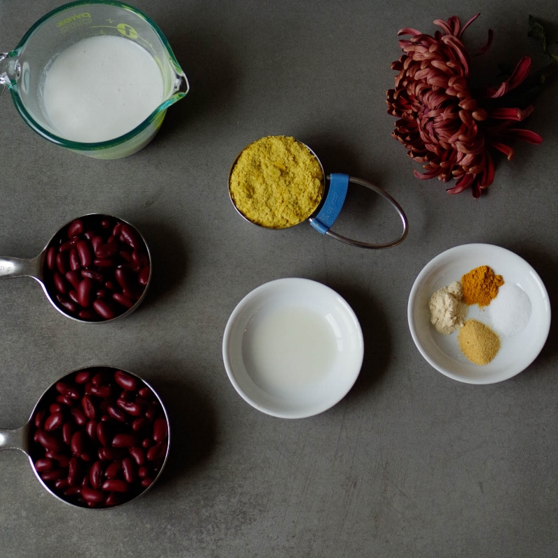 Ingredients for Beany Cheesy sauce. This one is using kidney beans. By Beautiful Ingredient.