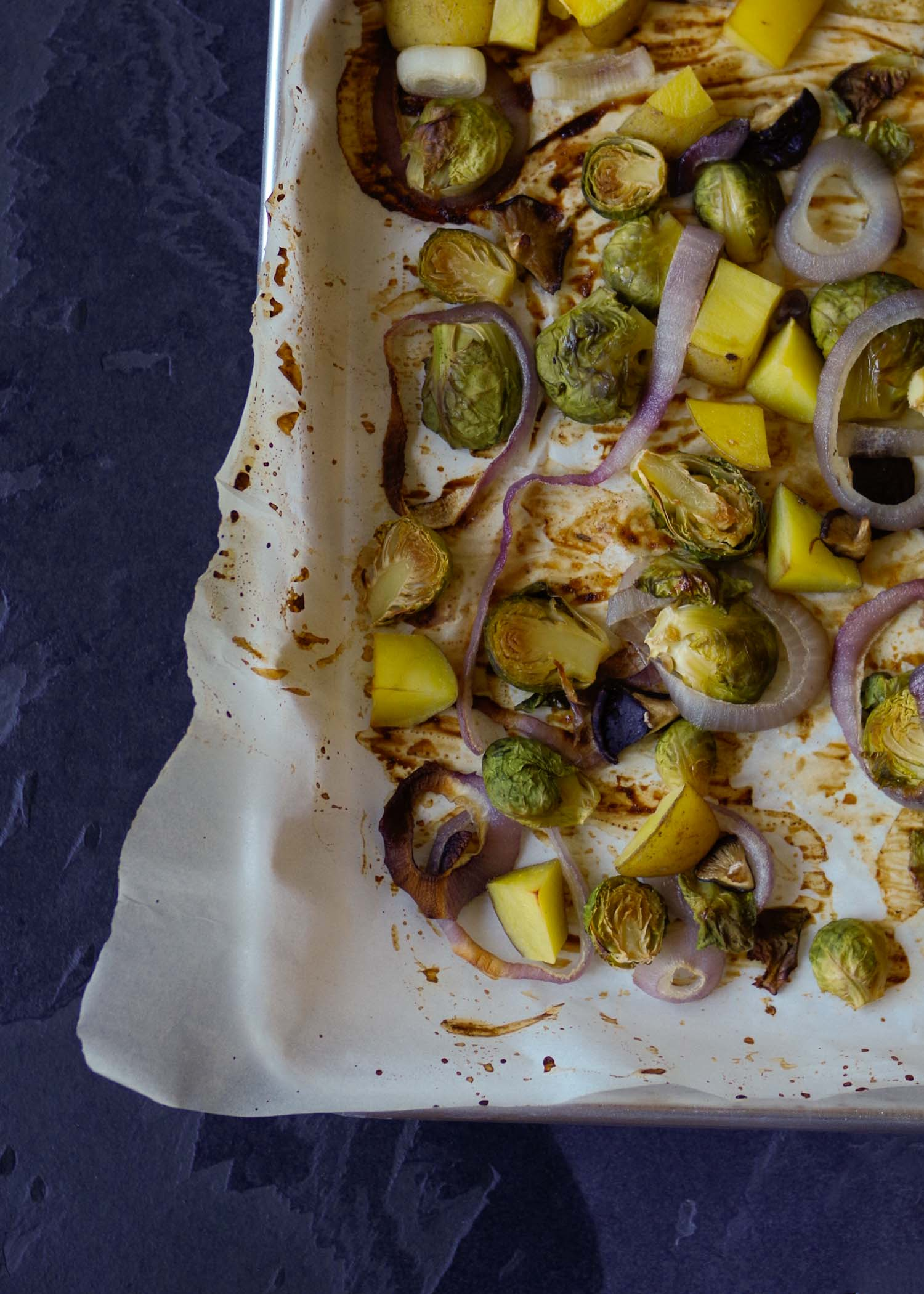 Roasted vegetables brown up even without oil.