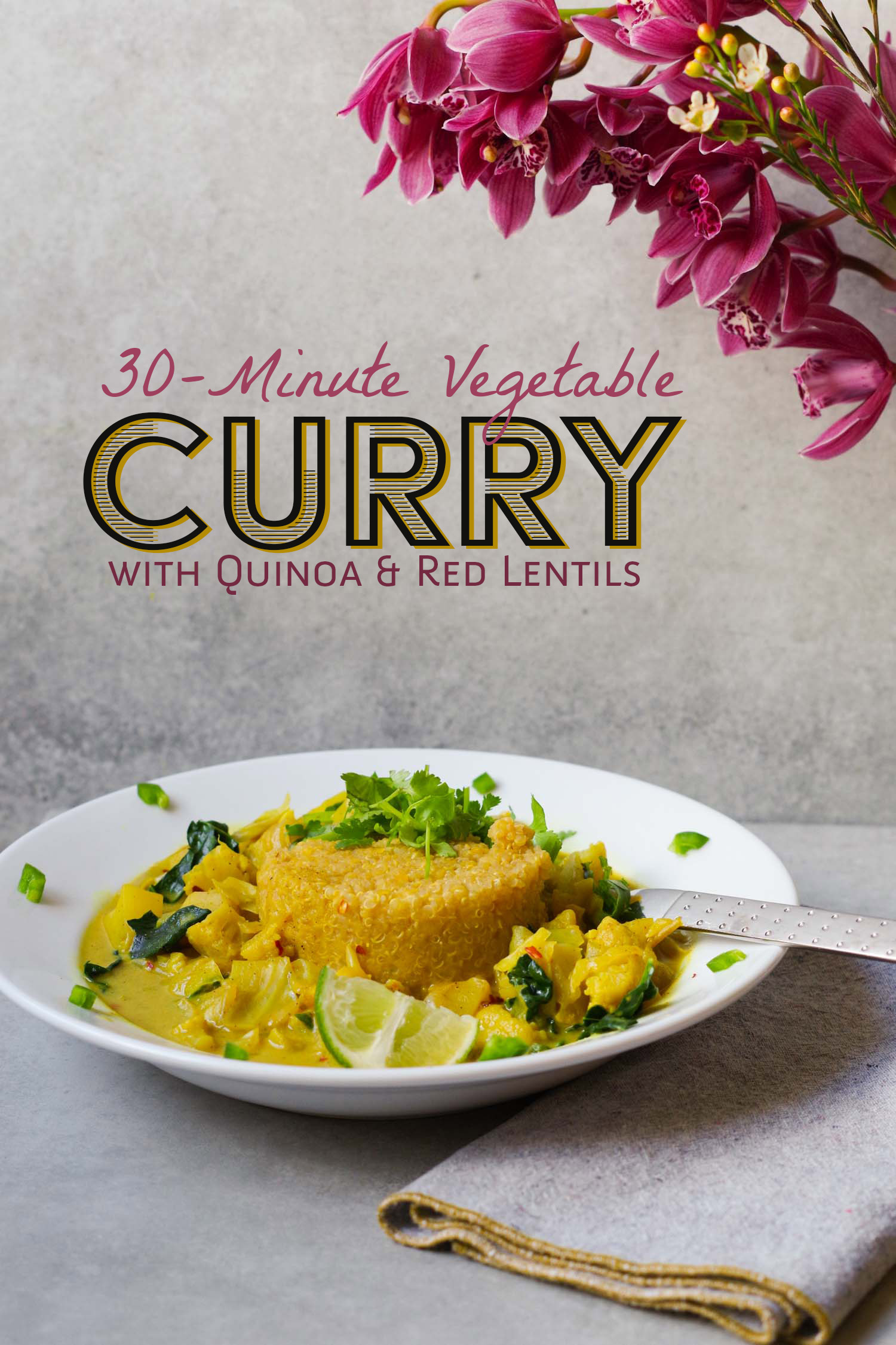 30-minute vegetable curry with quinoa and red lentils, by beautiful ingredient