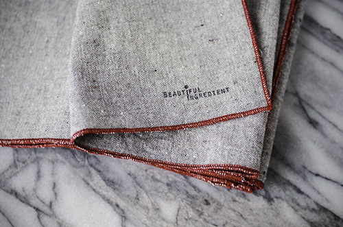 HEATHERED GRAY NAPKINS IN BARN RED, AVAILABLE IN THE HANDMADE SHOP