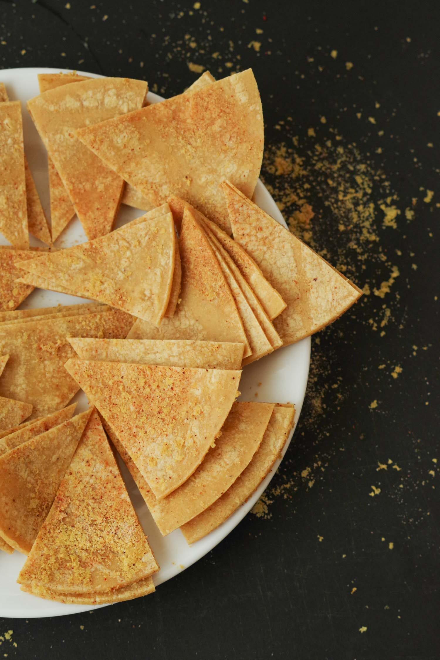 Tortilla triangles ready for baking. By Beautiful Ingredient
