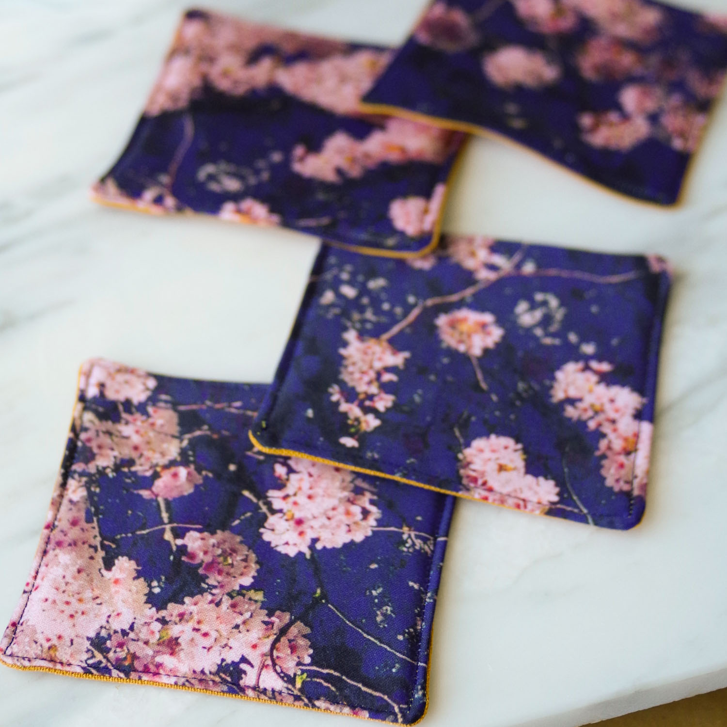 Cherry Blossom Coasters in organic cotton. By Beautiful Ingredient.