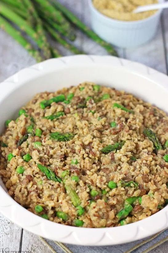 One-Pot Lentil Quinoa with Asparagus and Peas by V Nutrition & Wellness.