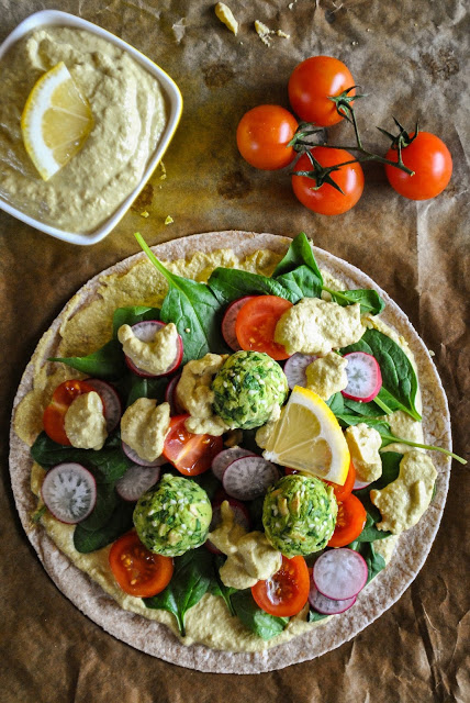 Vegan Wraps with Baked Spinach Balls and Lemony Dressing by Vegan Sandra.