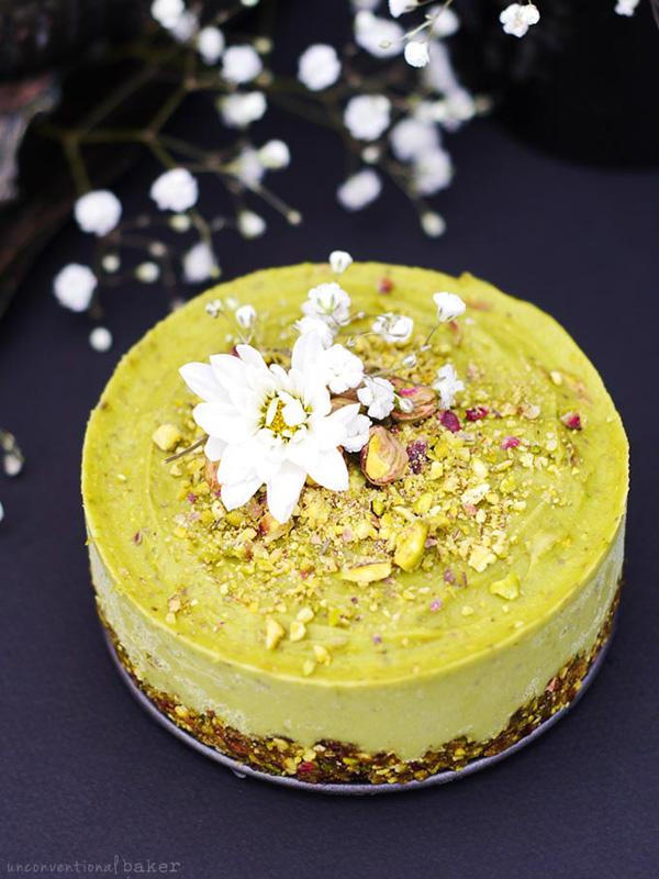 Pistachio Orange Blossom Raw Avocado Cake by Unconventional Baker.
