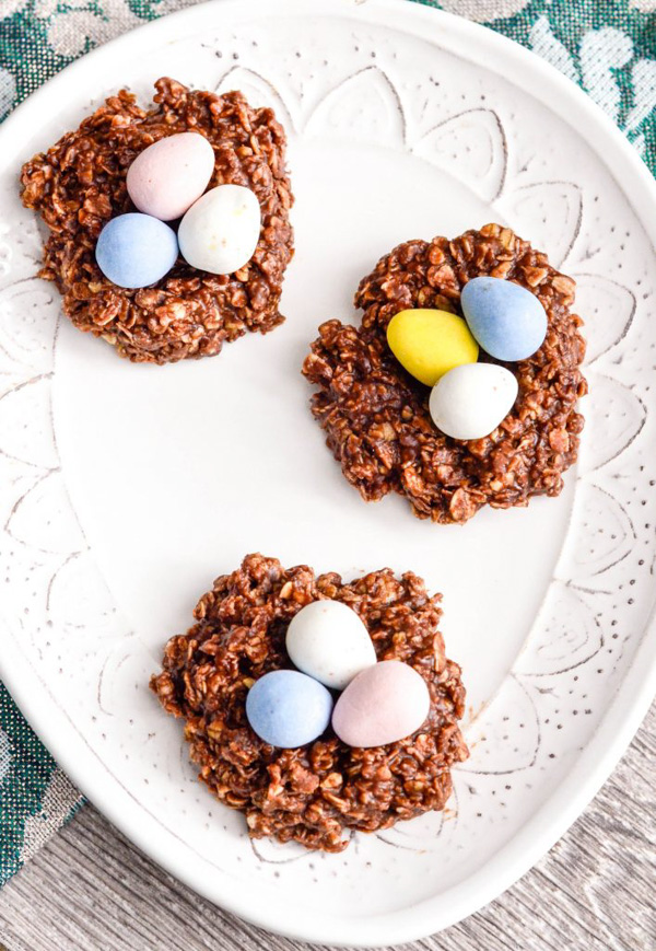 No-Bake Chocolate Peanut Butter Cookie Nests by Joy Food Sunshine.