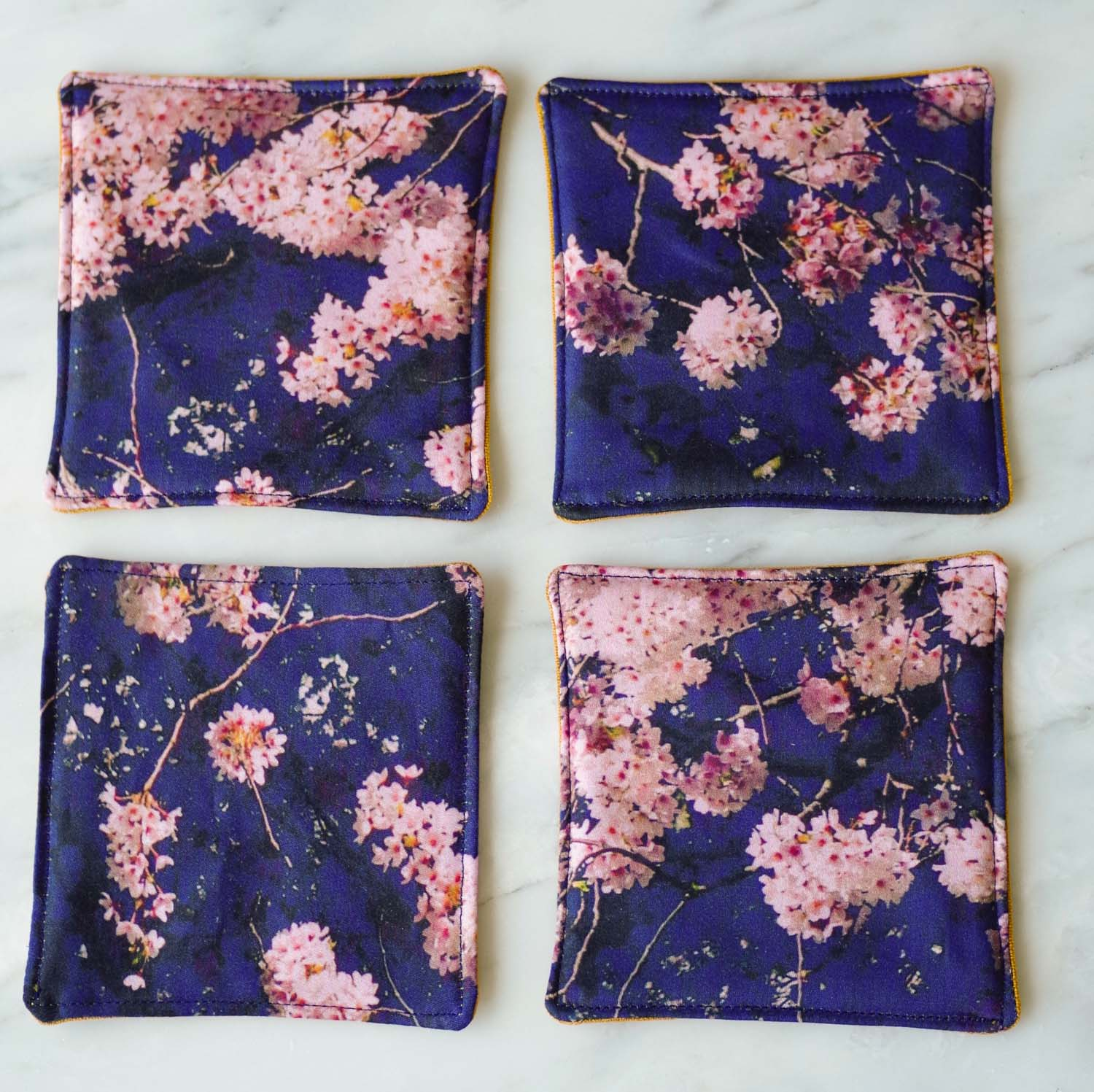 Cherry Blossom Coasters on Organic Cotton by Beautiful Ingredient.