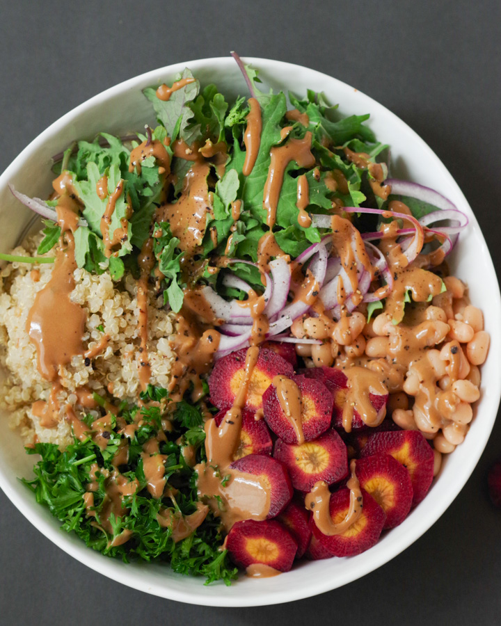 Easy Vegan Buddha Bowl with Tahini Balsamic Dressing, by Beautiful Ingredient