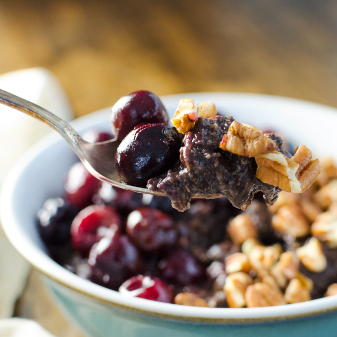 Quick Vegan Chocolate Cherry Oatmeal by Veggie Primer