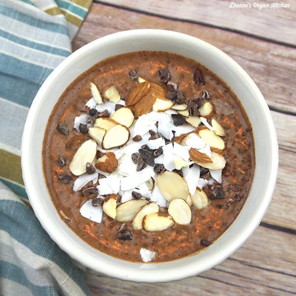 Vegan Almond Joy Chia Pudding, by Dianne's Vegan Kitchen