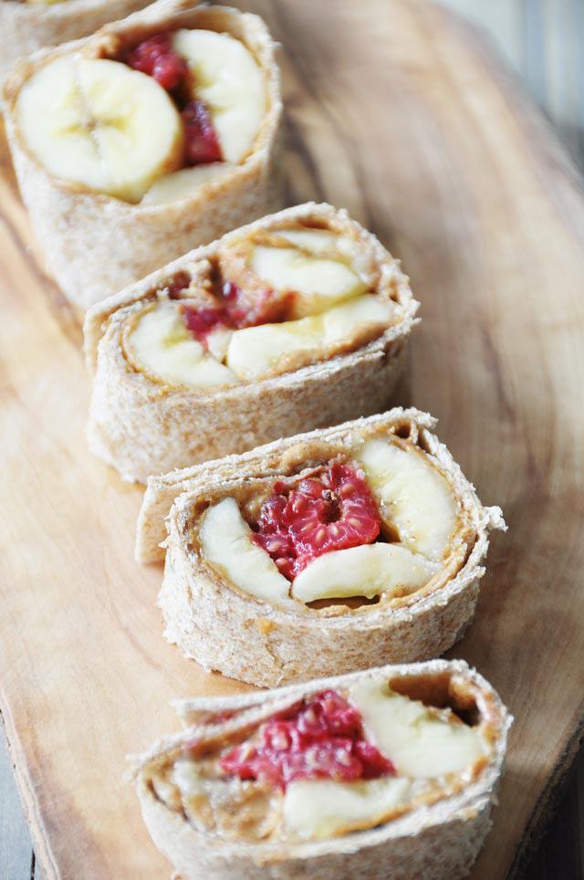 Vegan Peanut Butter, Raspberry, and Banana Spirals, by Veganosity