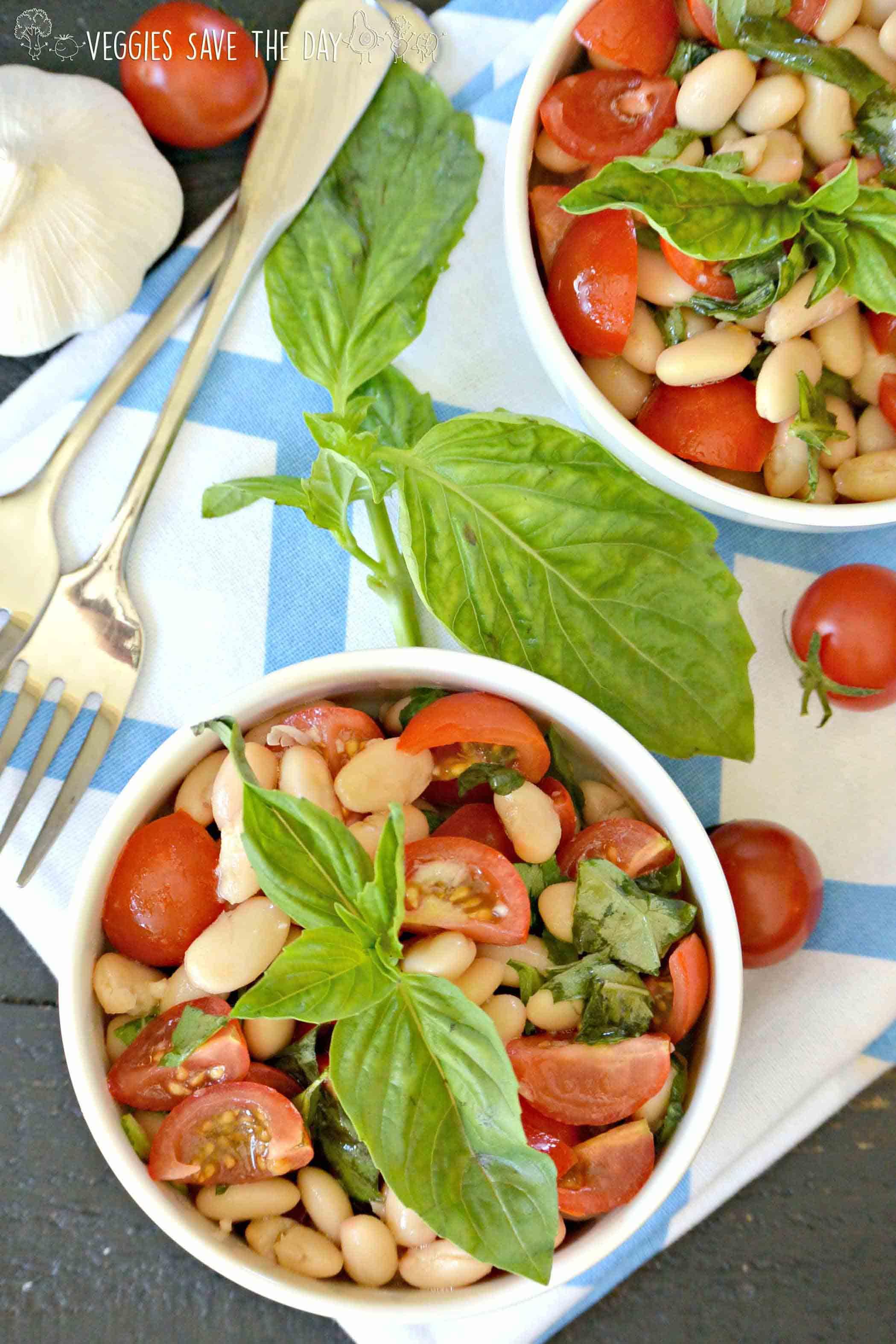 Vegan White Bean Cherry Tomato Basil Salad, by Veggies Save the Day