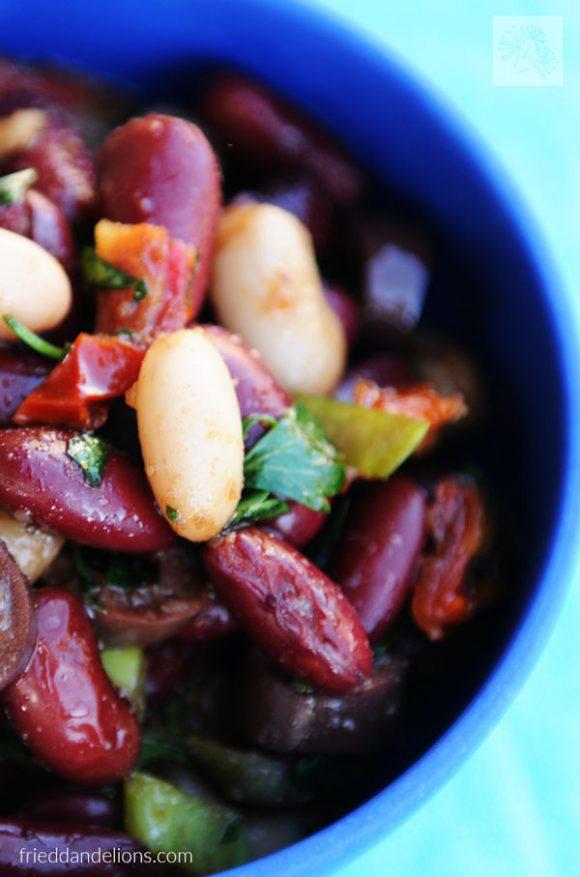 Vegan Balsamic Bean Salad, by Fried Dandelions
