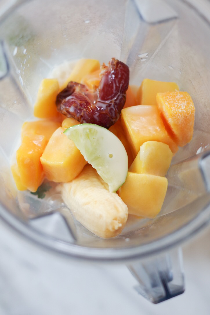 Mango Lime Smoothie ingredients ready to blend, by Beautiful Ingredient.