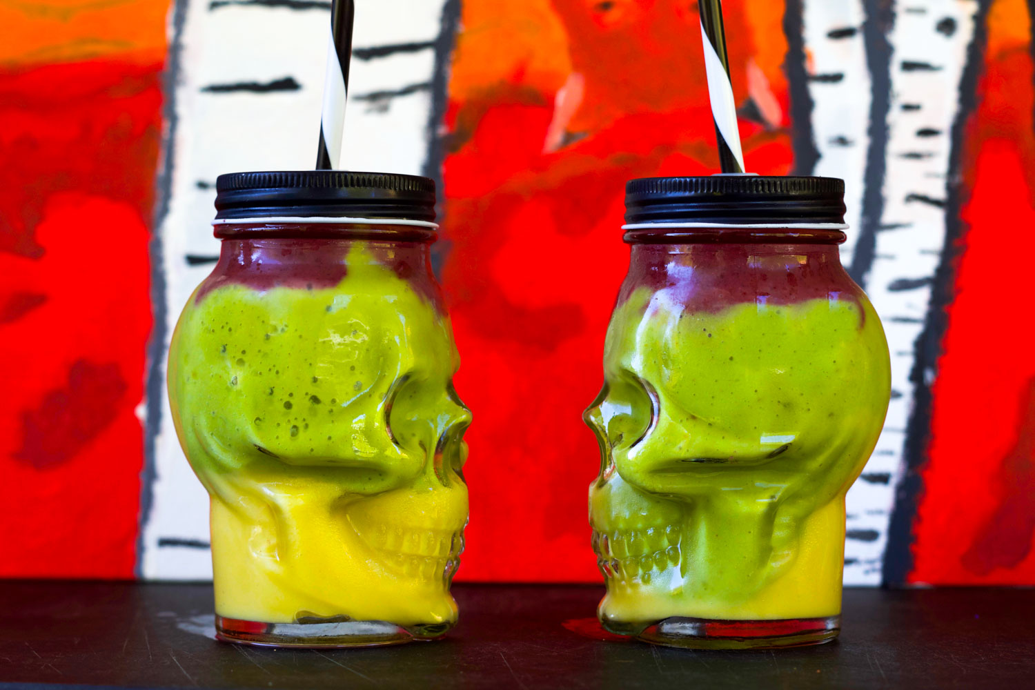Easy Colorful Halloween smoothies, by Beautiful Ingredient