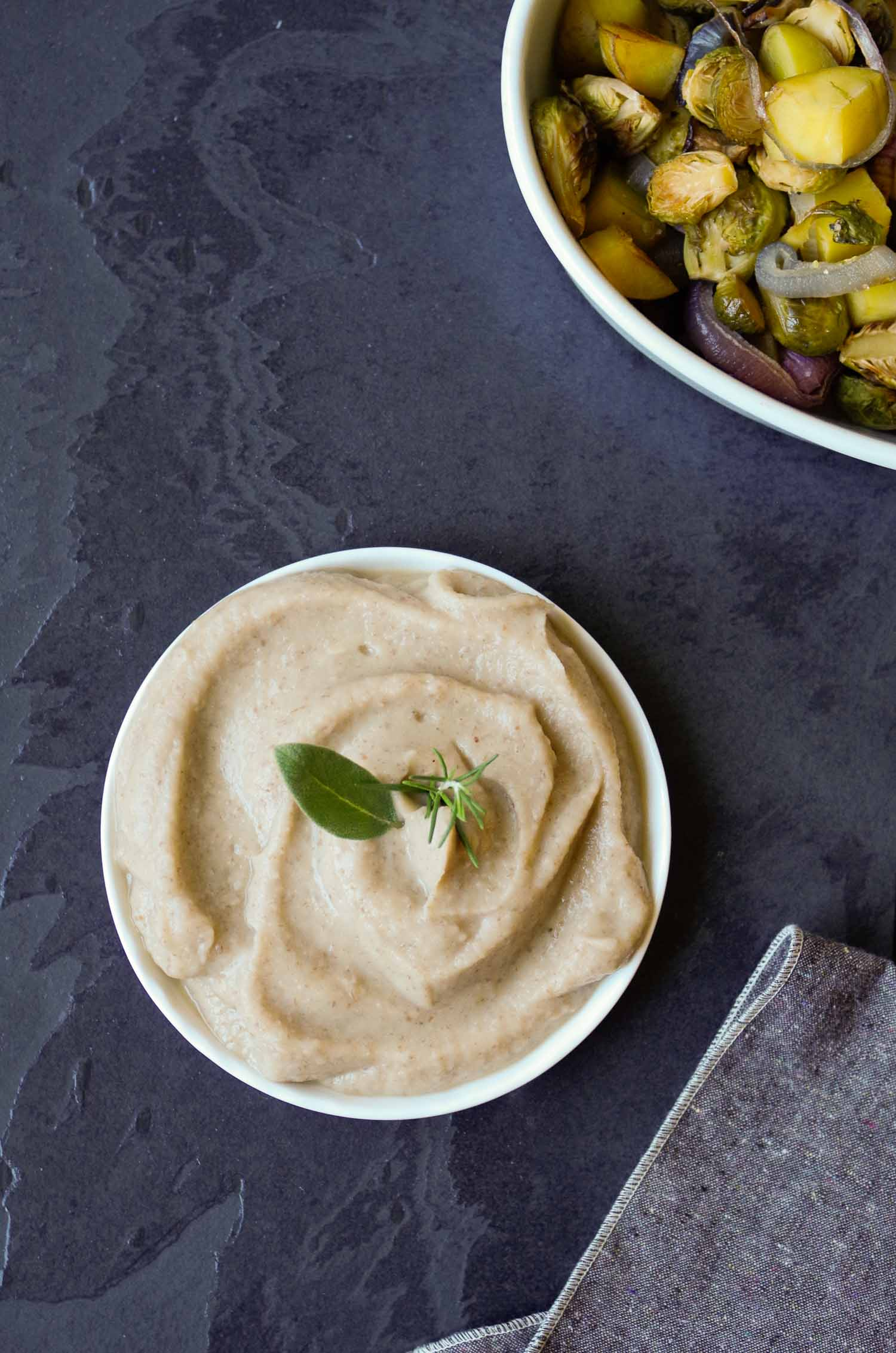QUICK VEGAN ROSEMARY SAGE WHITE BEAN PUREE GOES GREAT WITH ROASTED VEGETABLES! BY BEAUTIFUL INGREDIENT.