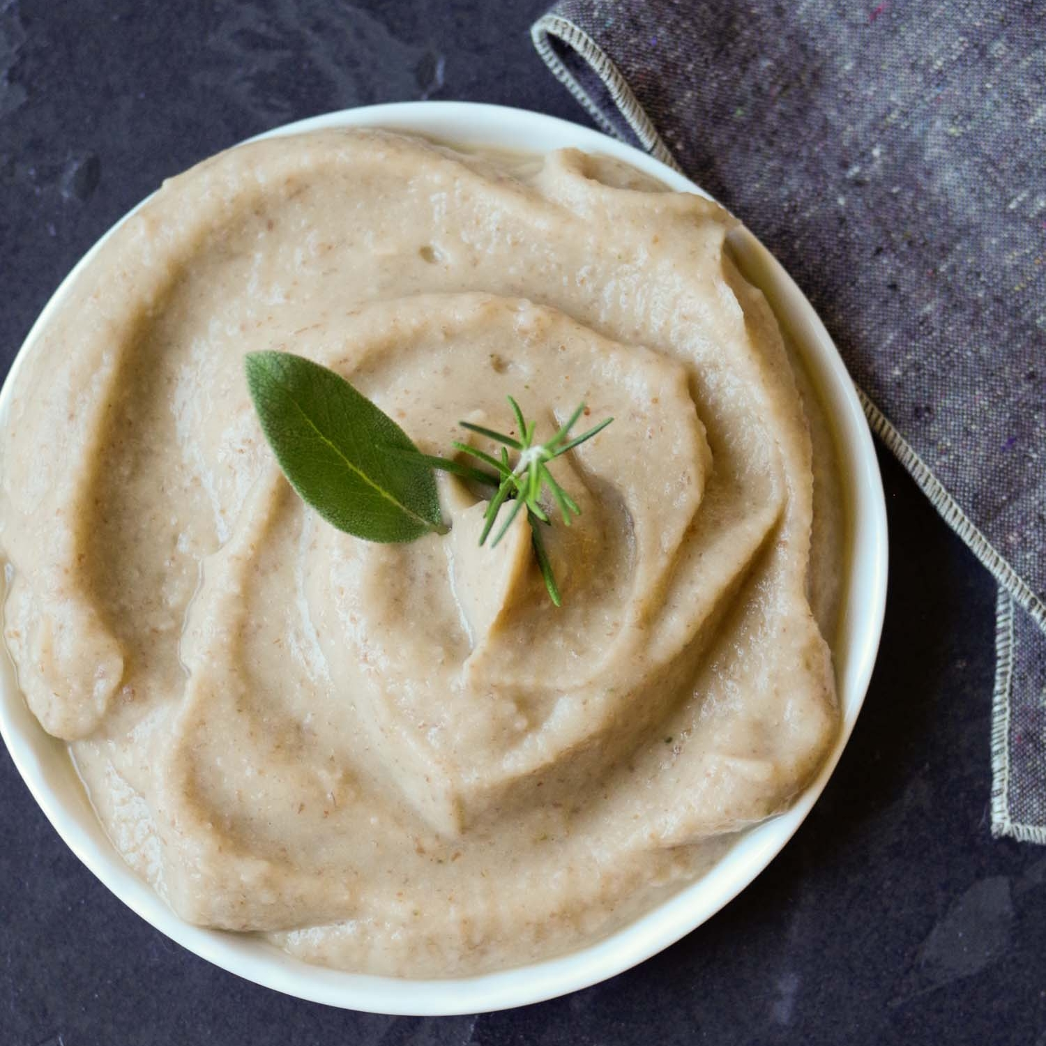 QUICK VEGAN ROSEMARY SAGE WHITE BEAN PUREE BY BEAUTIFUL INGREDIENT.
