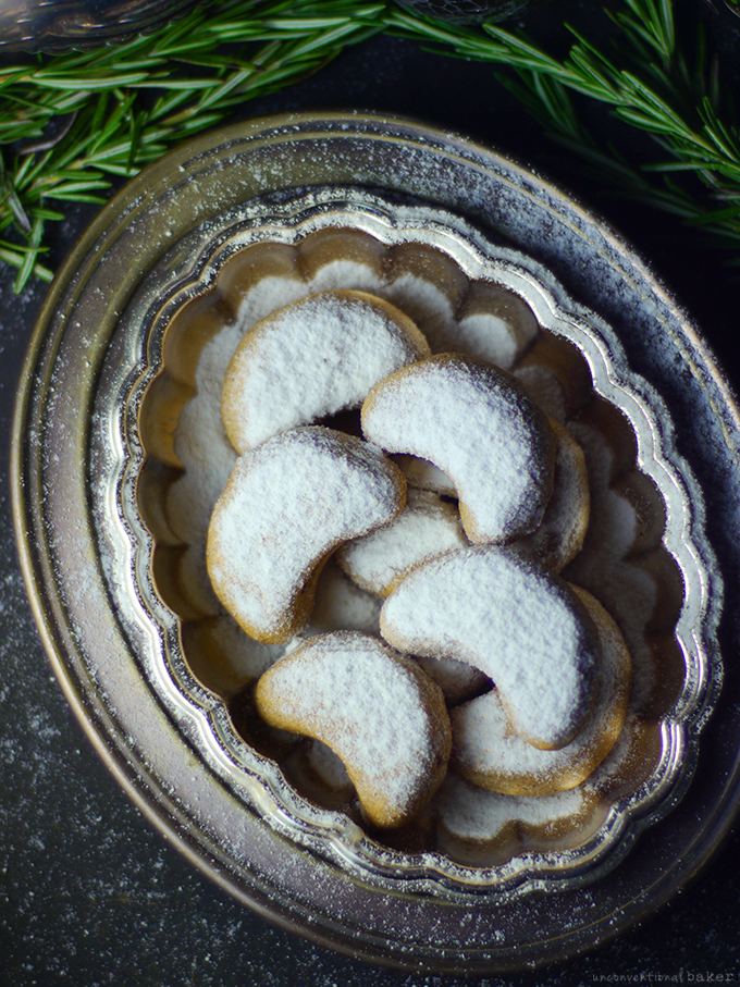 Vegan & Gluten-Free Almond Crescent Cookies by Audrey of Unconventional Baker