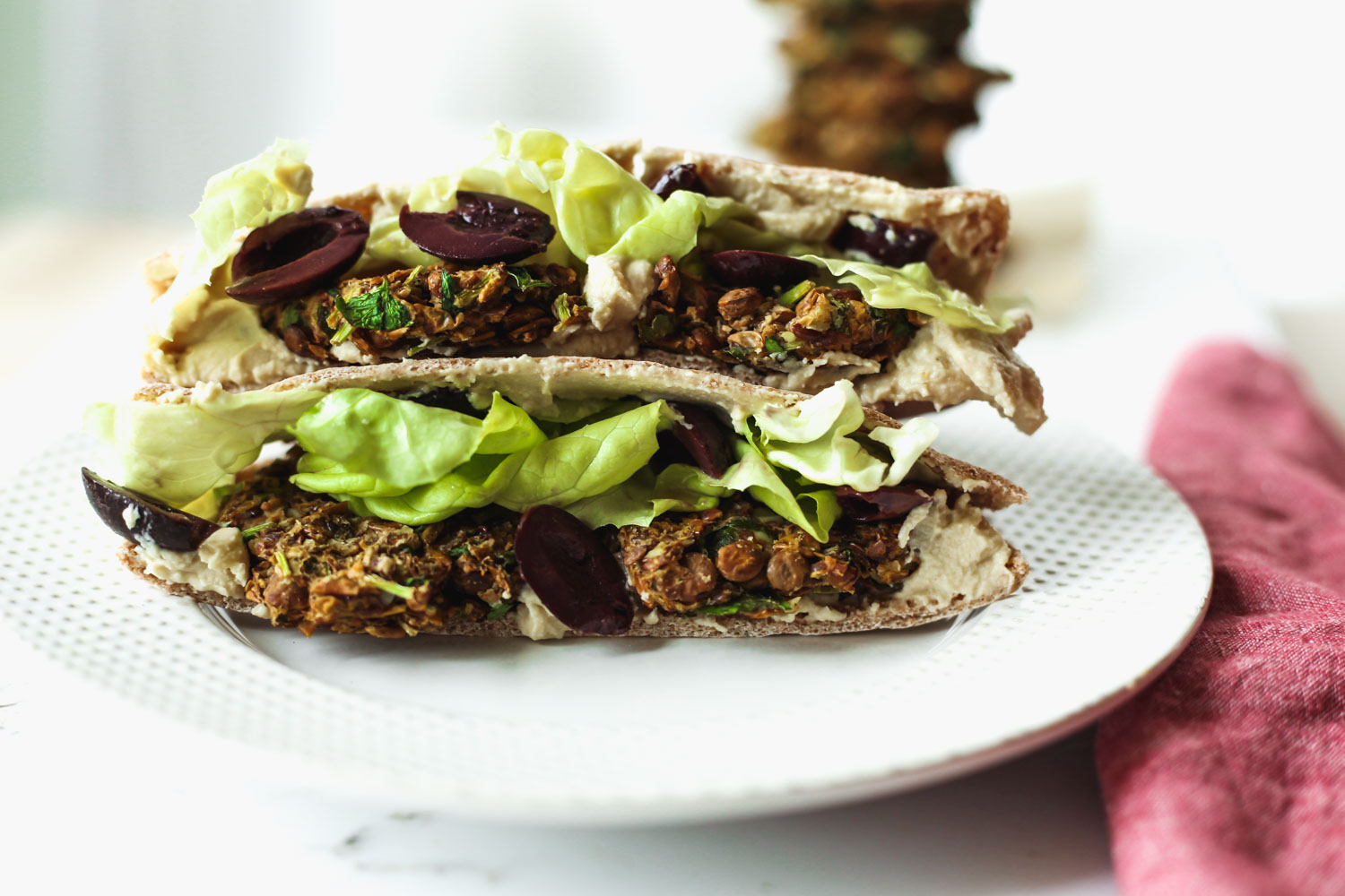 Baked Lentil Falafel Sandwich | Recipe from The Simply Vegan Cookbook by Dustin Harder