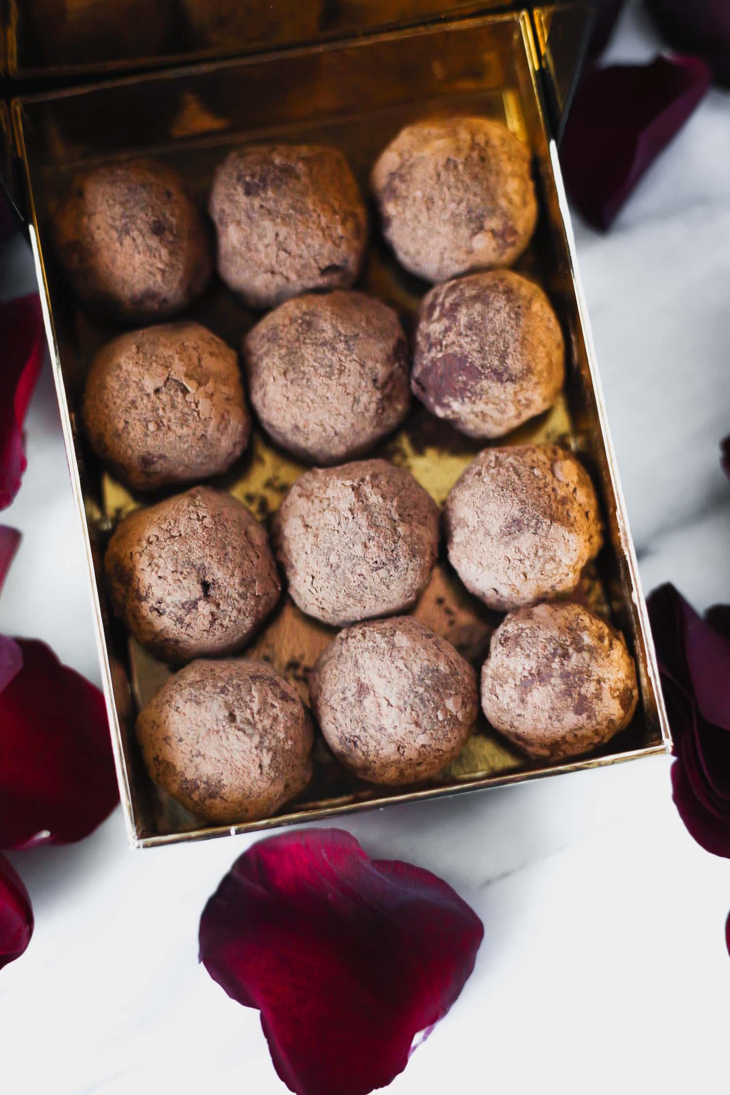 """Vegan Low-Glycemic Chocolate Macadamia truffles for Valentine""""s Day."""