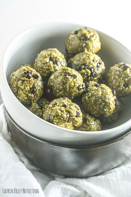 Crispy Mint Chocolate Chip balls, GF Vegan | Lauren Kelly Nutrition