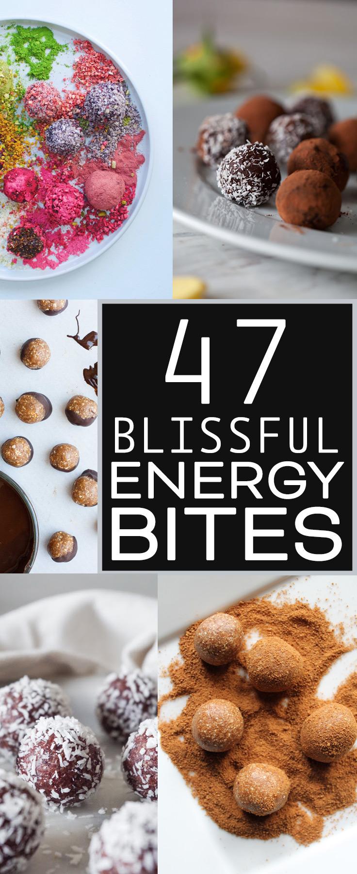 47 Blissful Vegan & Gluten-Free Energy Bite Recipes collected by Kari of Beautiful Ingredient