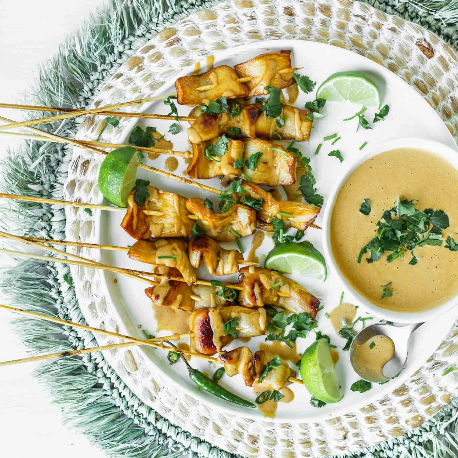 King Satay with Spicy Peanut-Ginger Sauce Recipe from The Wicked Healthy Cookbook
