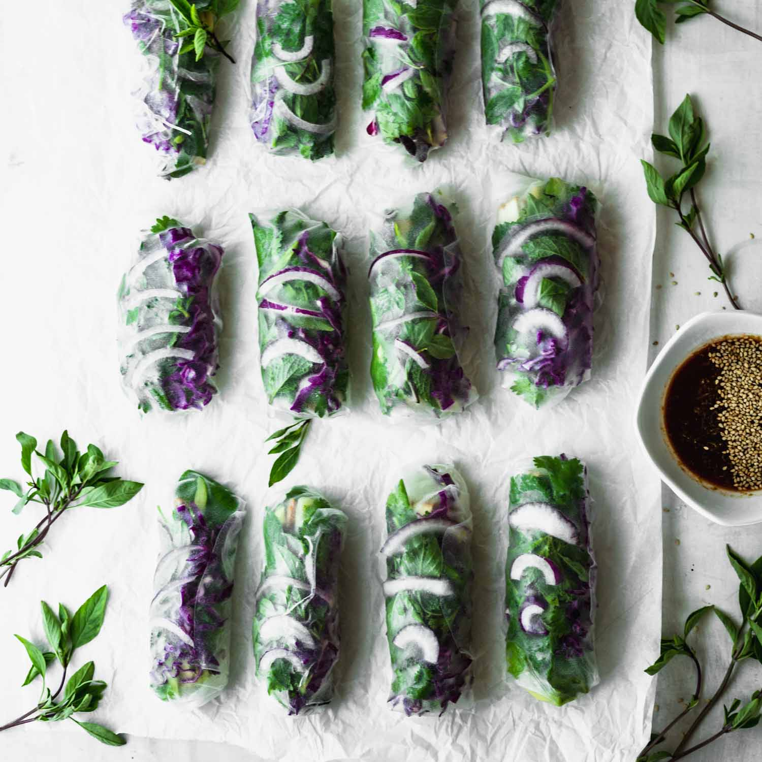 Easy Green & Purple Summer Rolls with Quick Dipping Sauce by Kari | Beautiful Ingredient