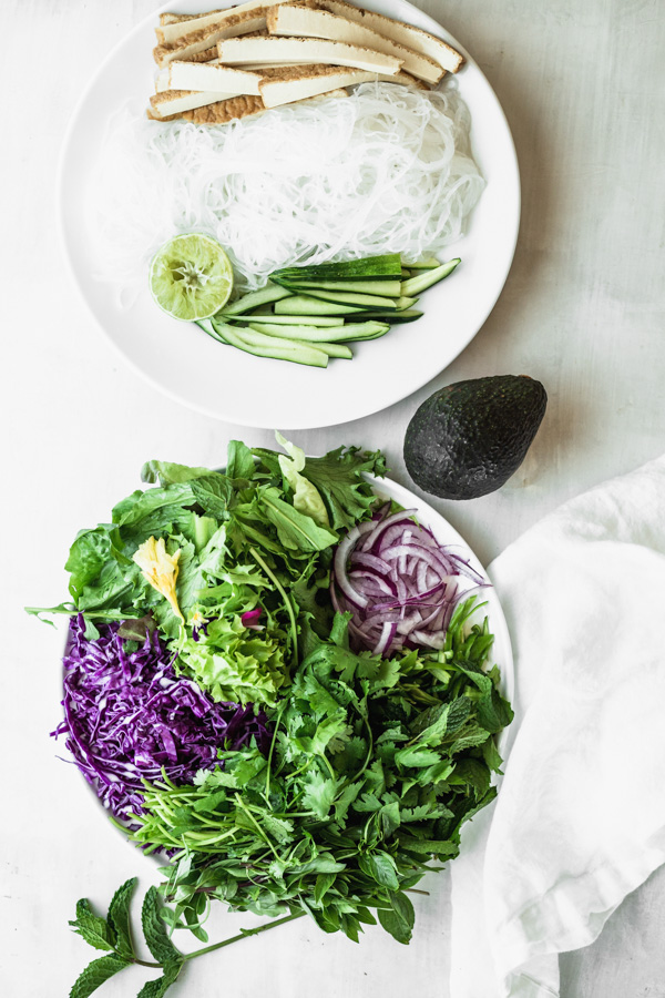 Ingredients for Easy Green & Purple Summer Rolls with Quick Dipping Sauce by Kari | Beautiful Ingredient.