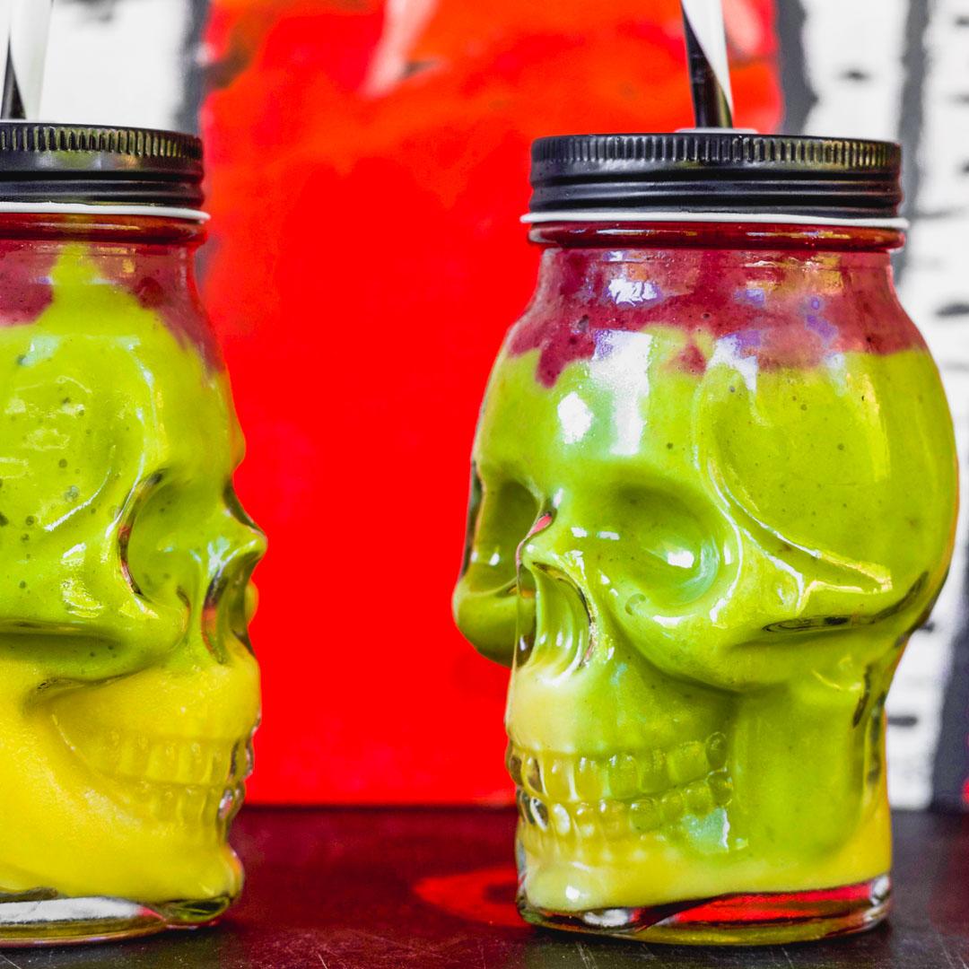 Easy Colorful Halloween Smoothies | Orange, Green, Purple | Vegan