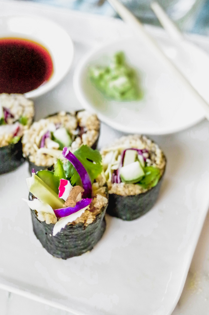 "Vegan Rainbow Sushi is easy and fun to make! Recipe by Kari of Beautiful Ingredient. ""vegan #sushi #appetizer #sushiroll"