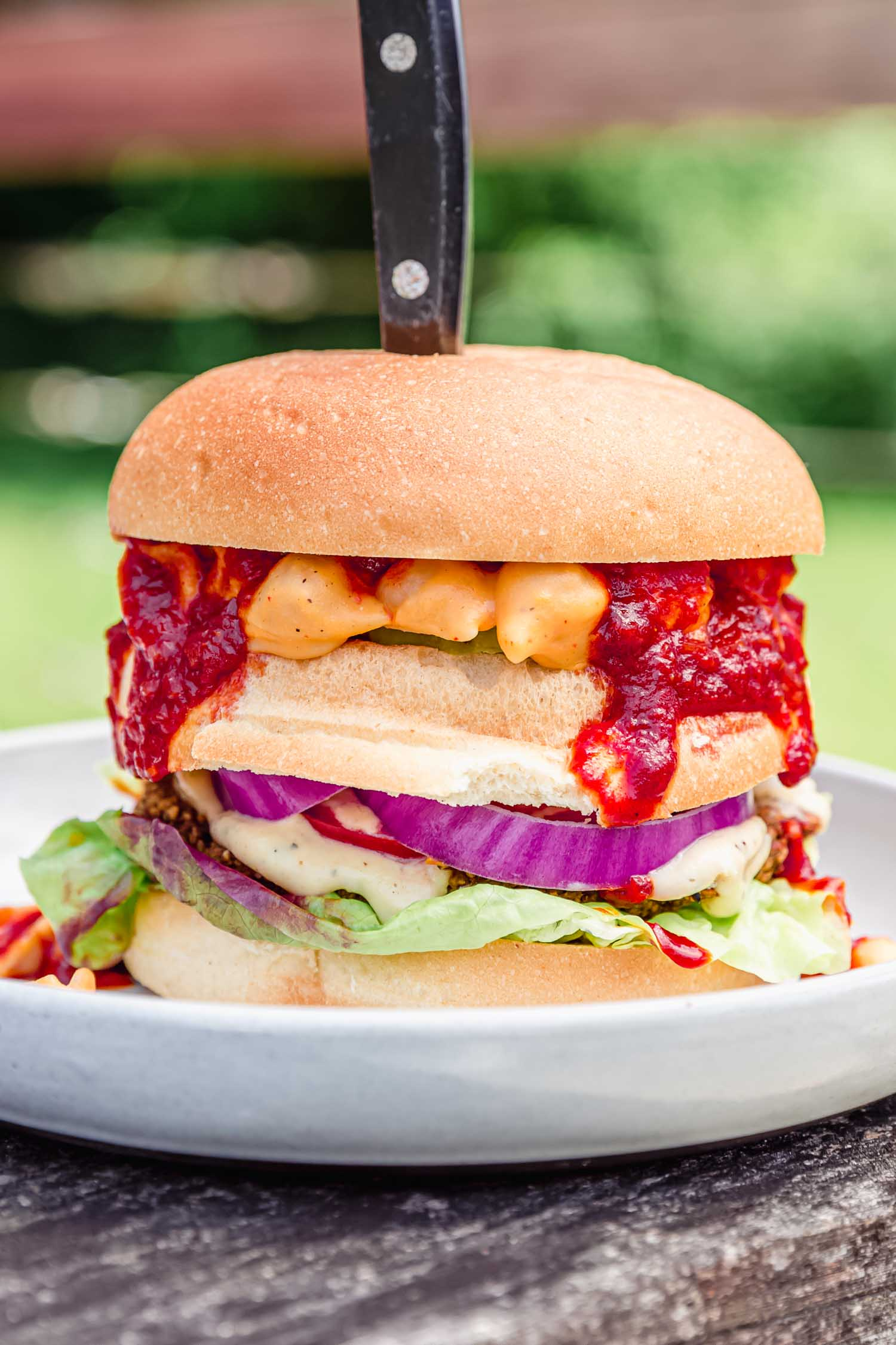 Red BBQ Sauce from  Epic Vegan  by Dustin Harder. Photo by Kari of Beautiful Ingredient. #bbqsauce #bbq #bbqsaucerecipe #vegansauce #veganbbq #vegansummerrecipe #veganrecipe #epicvegan