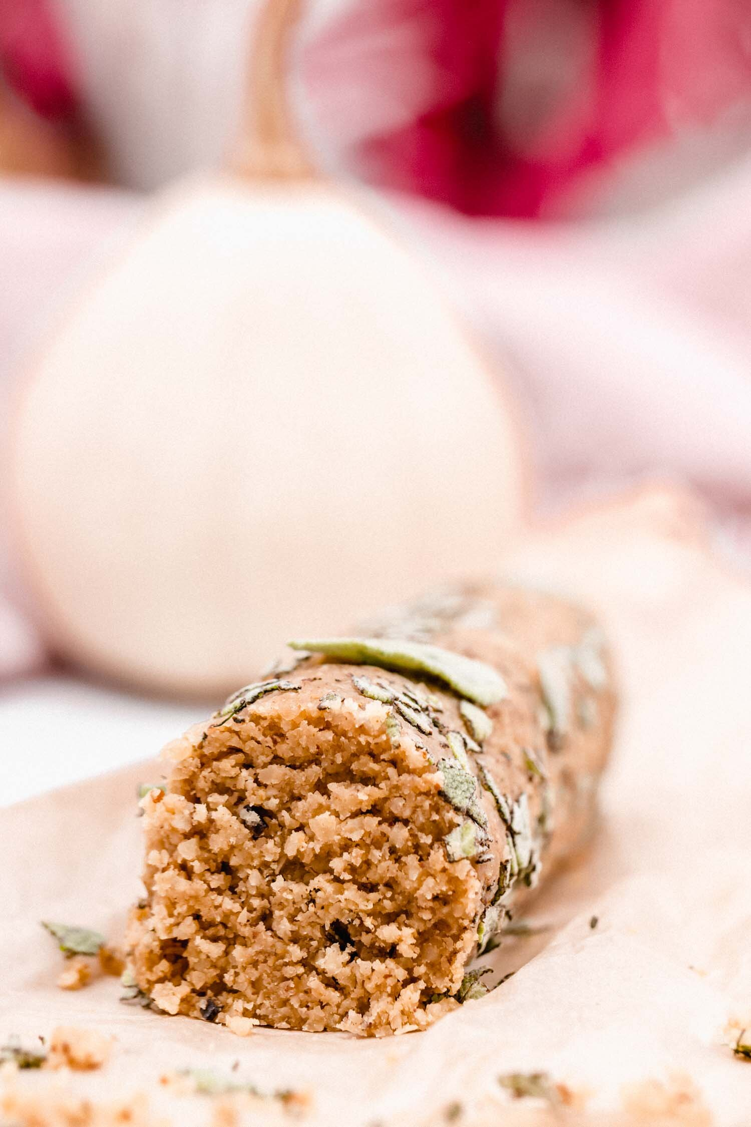 Easy Brazil Nut Vegan Cheese Log only requires about 10 minutes of hands-on time and is deliciously flavored with brazil nuts rosemary, lemon, and kalamata olives. #vegancheese #dairyfree #cheeselog #glutenfree #holidayfood #snack #appetizer #vegan #rosemary #brazilnut