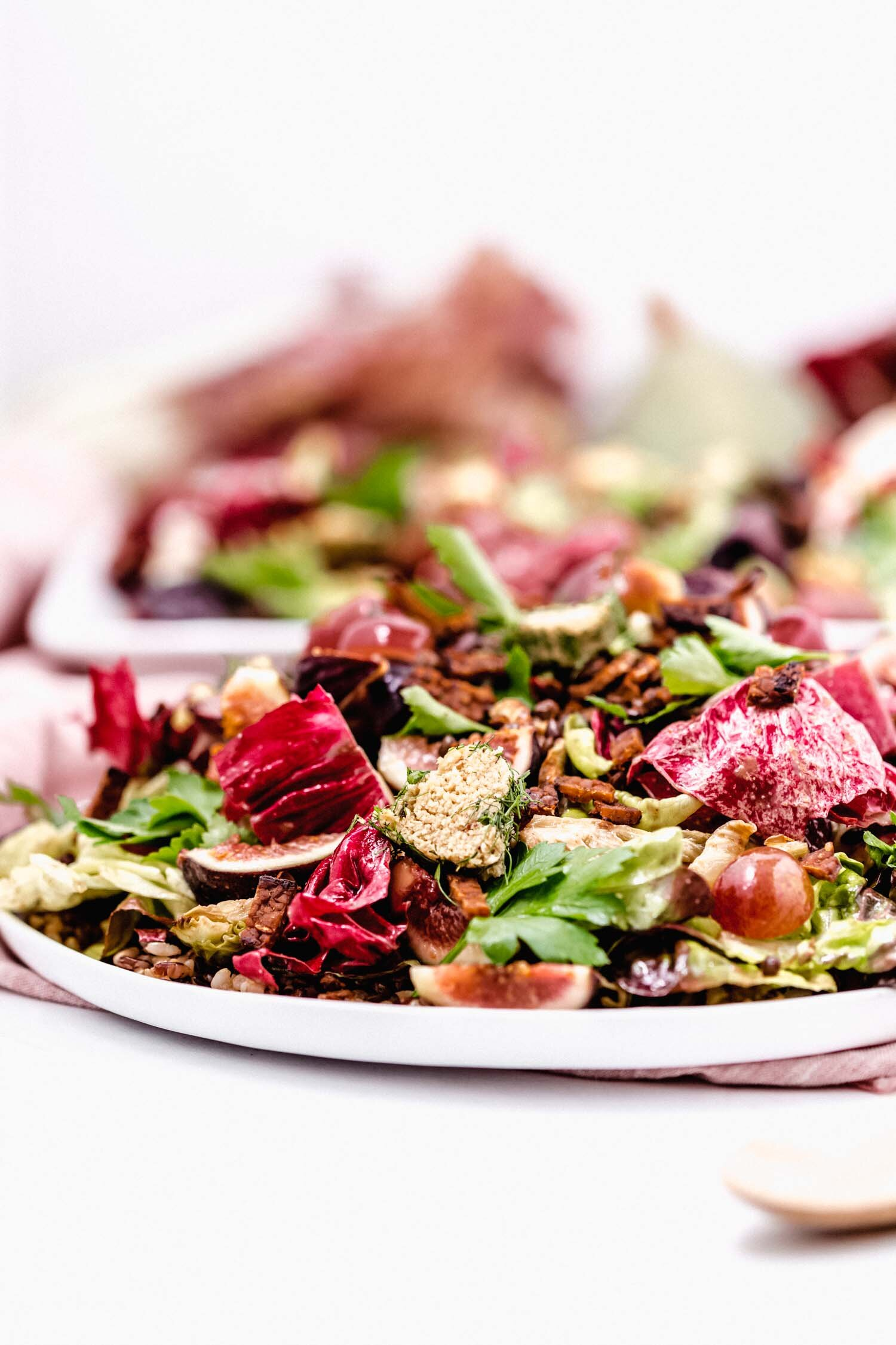 Radicchio Harvest Salad with Pecan Dressing (Vegan, GF) is a full holiday meal in itself, yet makes a crowd-pleasing plant-based addition to a holiday spread. #veganholiday #plantbasedrecipe #thanksgiving #christmas #holidaysalad #radicchio #vegancheese #lentils #wildrice #veganbacon #figrecipe #pecan #vegansalad #harvestsalad #thanksgivingsalad #colorfulsalad #glutenfreeholiday