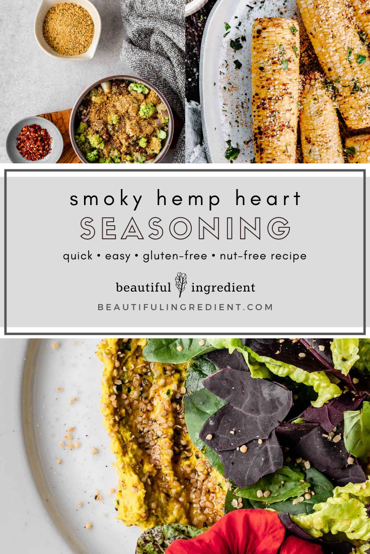 So good on just about anything, this Smoky Hemp Heart Seasoning recipe is full of nutrients and flavor. It's also vegan, gluten-free, nut-free, and oil-free. And it comes together in just a few minutes! #smoky #hempheart #hempseed #seasoning #topping #smokytopping #smokyseasoning #vegan #plantbased #veganrecipe #glutenfreevegan #flavoring #veganflavoring