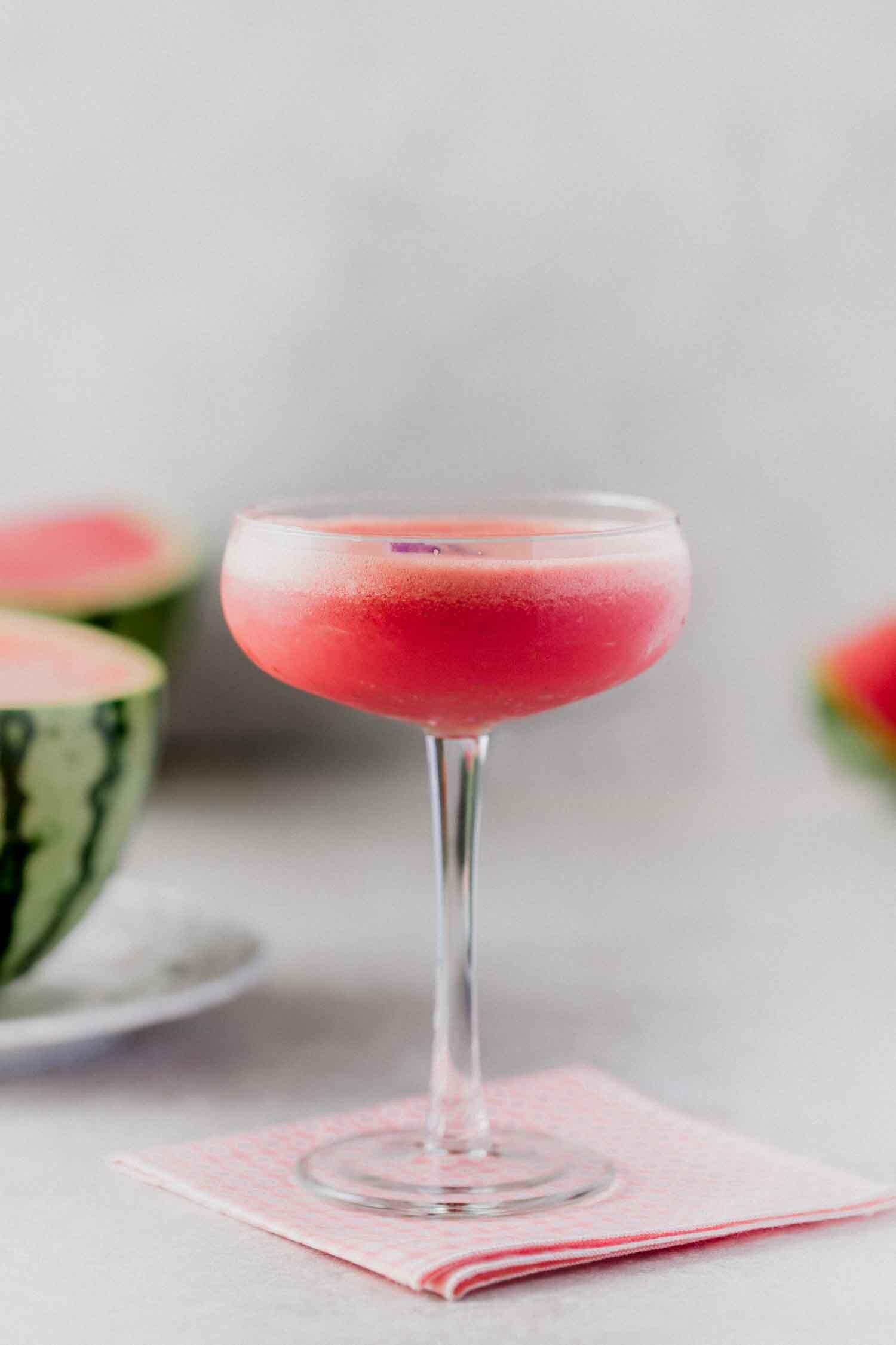 Lavender Watermelon Daiquiri recipe - a summer cocktail or mocktail by Kari of Beautiful Ingredient. #mocktail #cocktail #summerdrink #drink #watermelon #lavender #summerdrinksalcohol #summerdrinksnonalcoholic #daiquiri