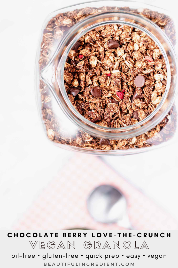 Chocolate and freeze-dried berries are the perfect combo in this crispy granola, inspired by store-bought granola. Vegan, gluten-free, oil-free, sugar-free (optional), easy, with minimal prep time, yet makes a big batch.  #granola #granolarecipe #vegangranola #oilfreevegan #vegangranolarecipe #veganbreakfast #sugarfree #quickbreakfast #quicksnack #vegansnack #breakfastideas #breakfastideashealthy #breakfastrecipes #glutenfreerecipes
