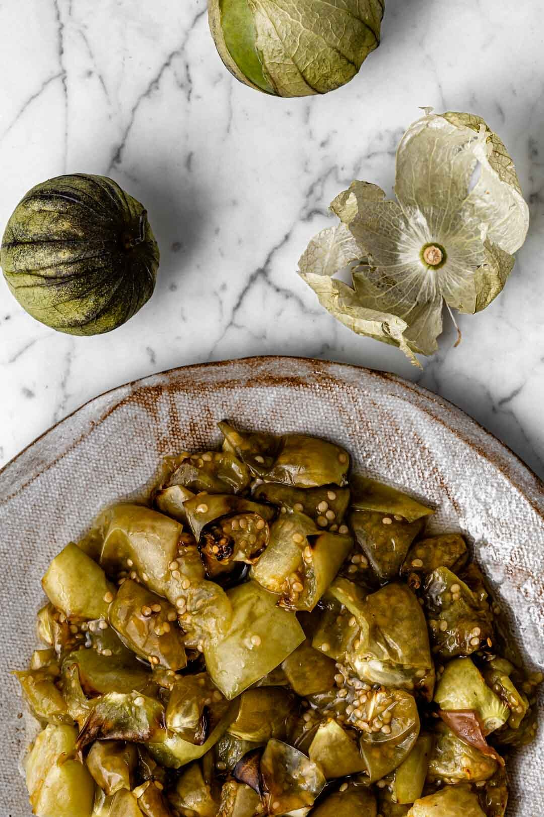 Roasted Tomatillos, Oil-Free