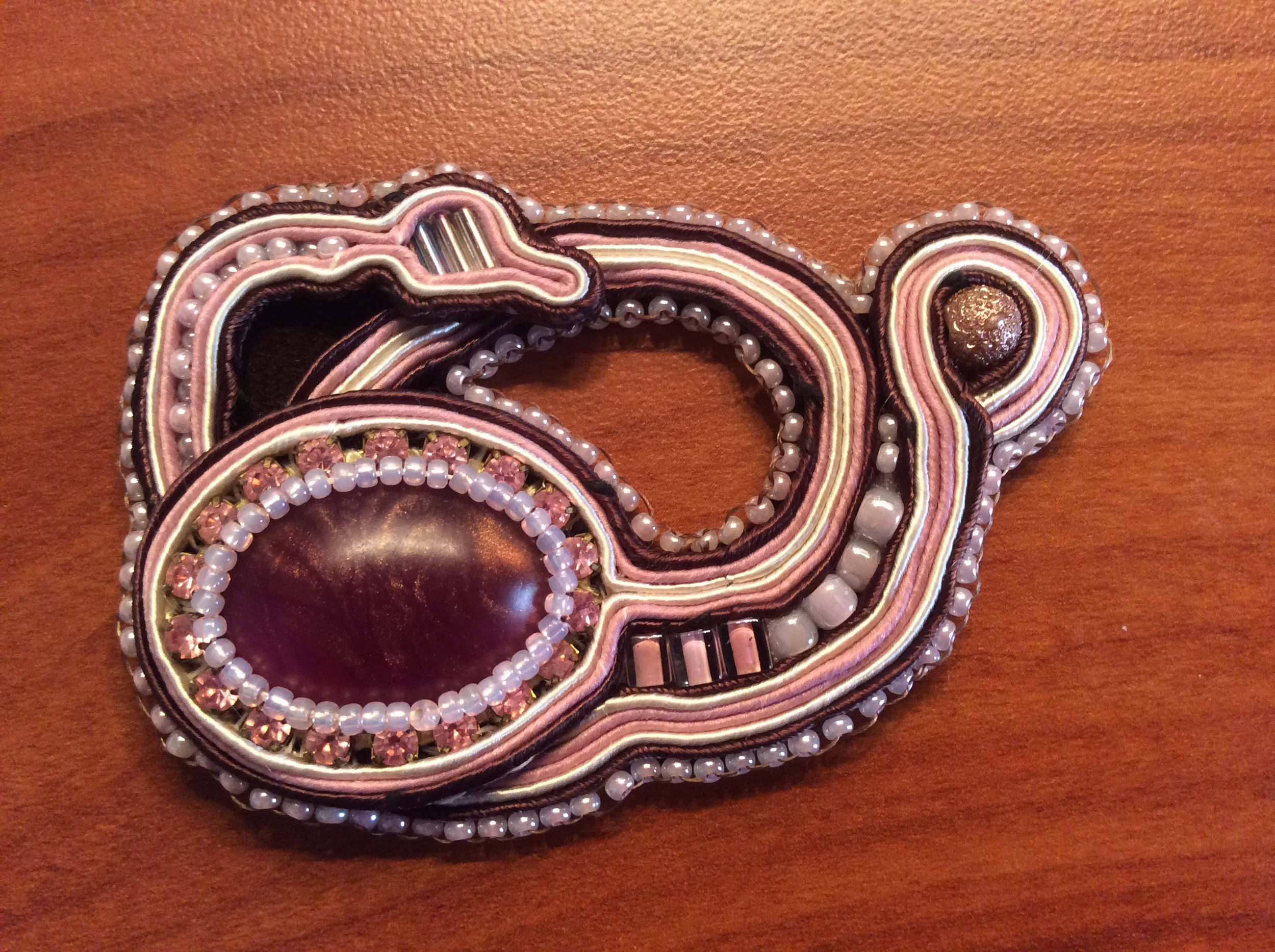 Soutache pendant with glass beads