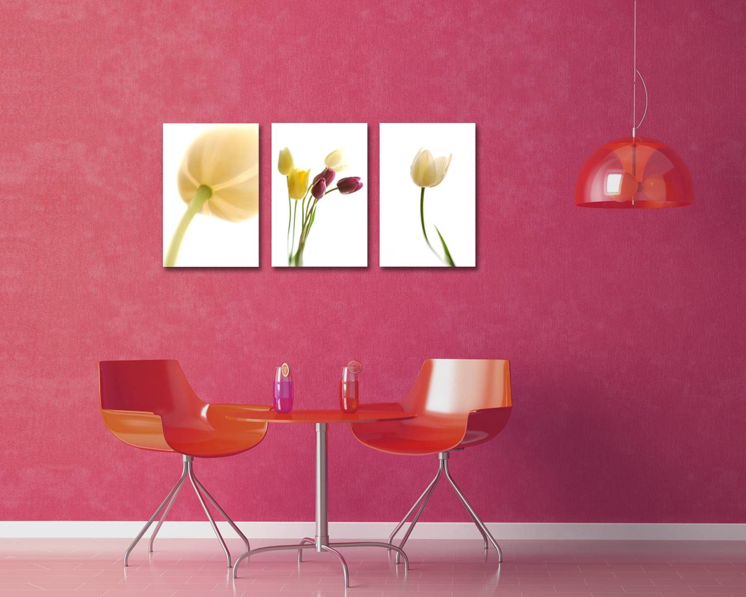 three tulips images in a dining area